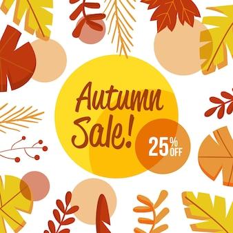Bannière carrée de vente automne dessiné à la main