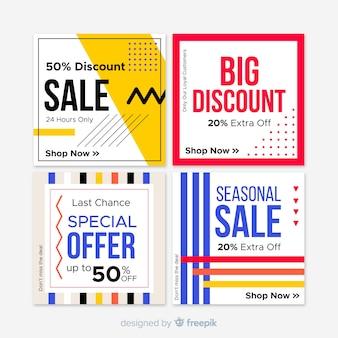 Bannière carrée de vente géométrique pour les médias sociaux