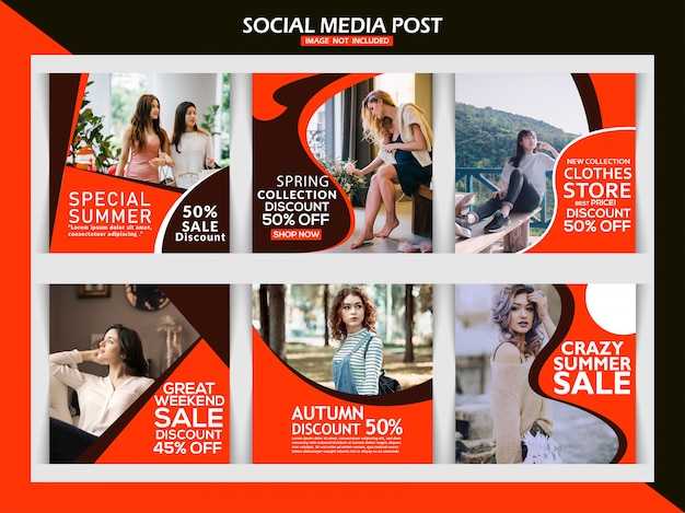 Bannière carrée de vente de mode ou instagram post template set