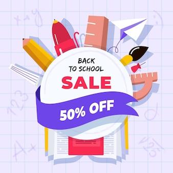 Bannière carrée avec des ventes de rentrée scolaire