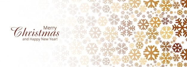 Bannière de carte de joyeux noël de flocons de neige décoratifs élégants