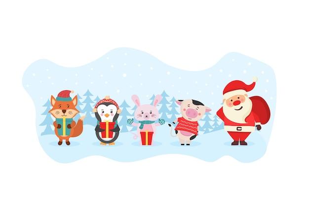 Bannière de carte de noël avec de mignons animaux d'hiver avec des cadeaux mignons personnages des bois dessinés à la main