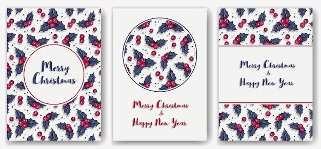 Bannière ou carte postale d'invitation de noël avec le houx pour le backgrou d'hiver de vacances de nouvel an pour desig