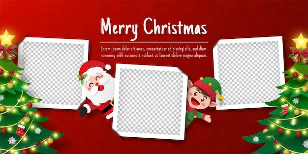 Bannière de carte postale de noël du père noël et de l'elfe avec cadre photo vierge