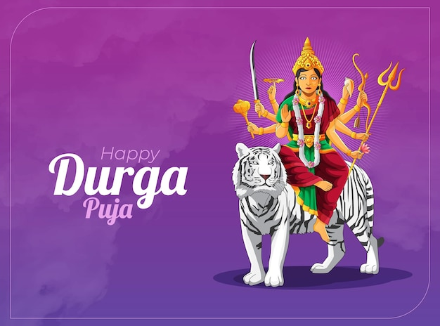 Bannière et carte de voeux de célébration de durga puja