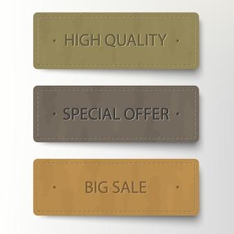 Bannière en carton, jeu d'autocollants discount. bannières en cuir de vente, étiquettes de prix, badges et étiquettes de grandes affaires, conception de papier réaliste