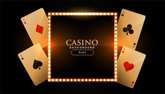 Bannière de casino avec cartes et cadre doré