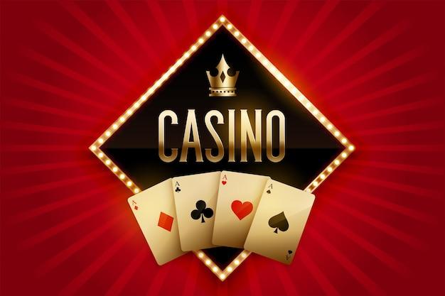 Bannière de casino avec cartes dorées et couronne
