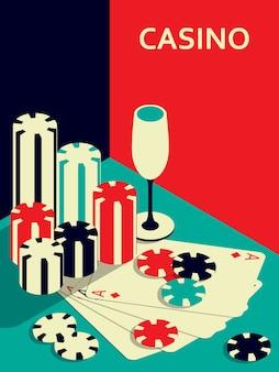 Bannière de casino. chips, boissons et cartes as