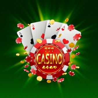 Bannière de casino dans un cadre sur un fond lumineux lumineux. illustration vectorielle