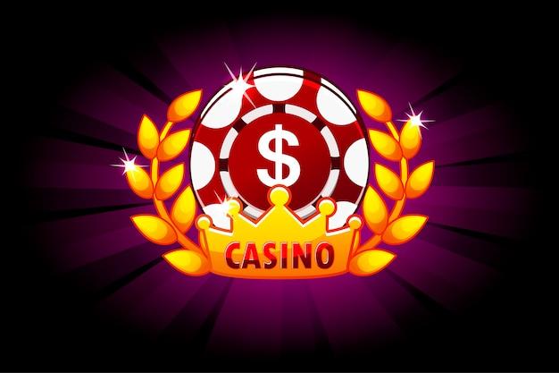 Bannière de casino avec jeton de poker et icône de couronne de couronne de laurier