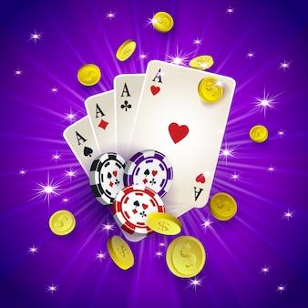 Bannière de casino avec jetons et cartes à jouer
