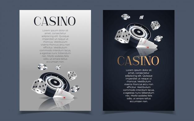 Bannière de casino avec des jetons de casino et des cartes. club de poker texas holdem.