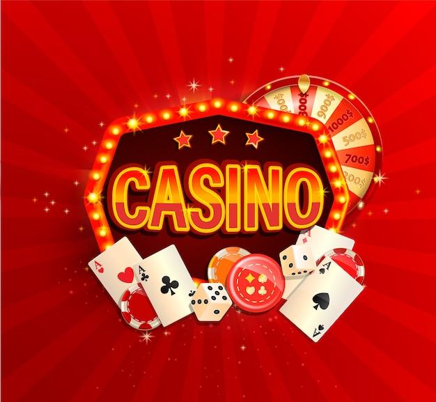 Bannière de casino en ligne dans un cadre lumineux vintage