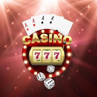 Bannière de casino avec machine à sous quatre as et dés. gagnez un gros lot. jouez au jeu et gagnez. illustration vectorielle