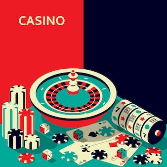 Bannière de casino. roulette et machine à sous, jetons, dés et cartes