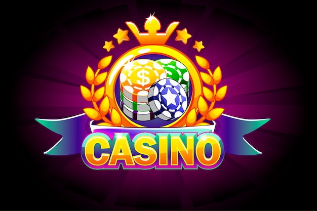 Bannière de casino avec ruban, icône et texte.