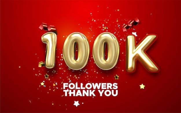 Bannière de célébration de 100k followers avec texte. affiche de réalisation des médias sociaux. 100k followers lettrage de remerciement