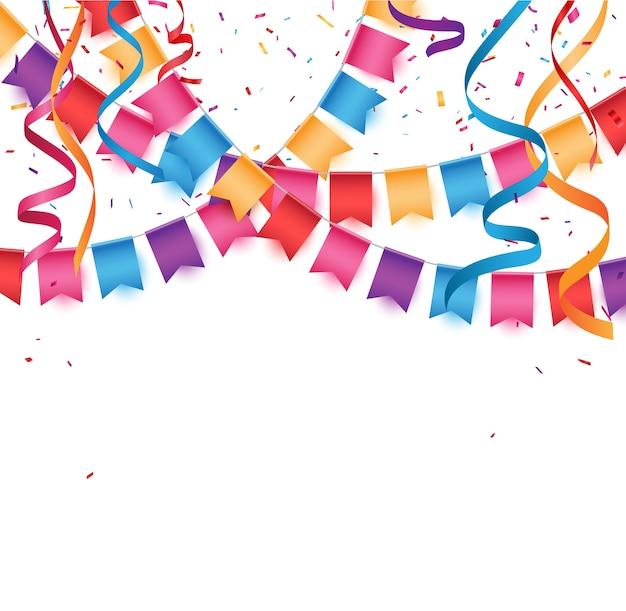 Bannière de célébration d'anniversaire avec des drapeaux bunting colorés
