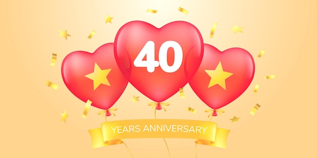 Bannière de célébration d'anniversaire de quarante ans avec des ballons à air chaud