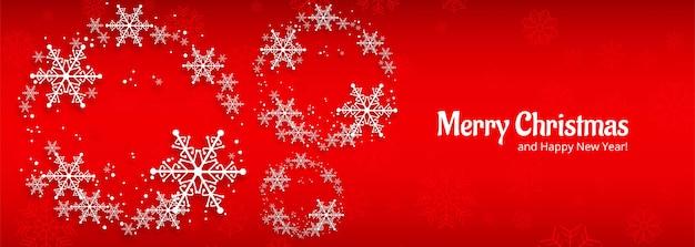 Bannière de célébration de carte de noël pour flocon de neige rouge