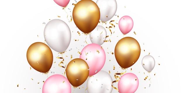Bannière de célébration avec des confettis dorés et des ballons