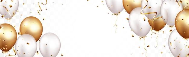 Bannière de célébration avec des confettis d'or et des ballons isolés