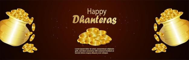Bannière de célébration du festival indien dhanteras heureux avec pot de pièce d'or