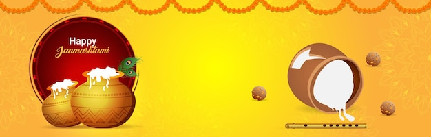 Bannière de célébration du festival indien joyeux krishna janmashtami