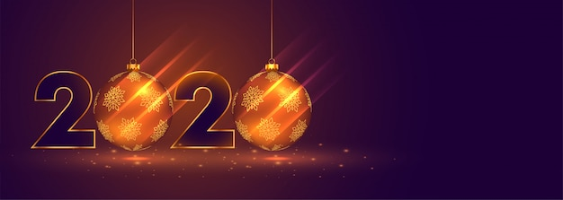 Bannière de célébration du nouvel an 2020 avec des boules de noël