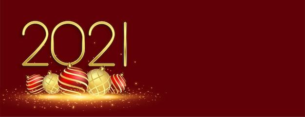 Bannière de célébration du nouvel an 2021 avec des boules de noël