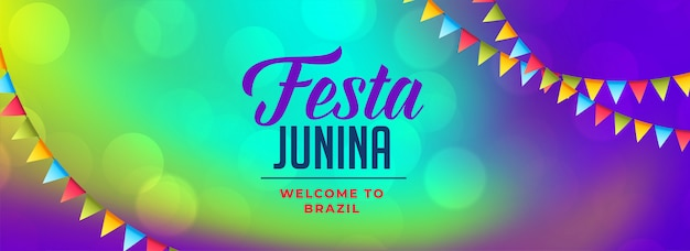 Bannière de célébration festa latina american junina