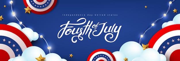 Bannière de célébration de la fête de l'indépendance des états-unis avec une décoration festive américaine sur le ciel nuageux. modèle d'affiche du 4 juillet.