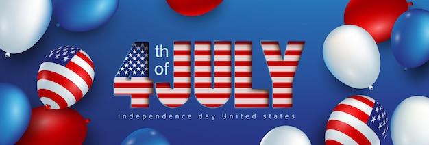 Bannière de célébration de la fête de l'indépendance des états-unis avec le drapeau américain de ballons et le style de coupe de papier de texte. modèle d'affiche du 4 juillet.