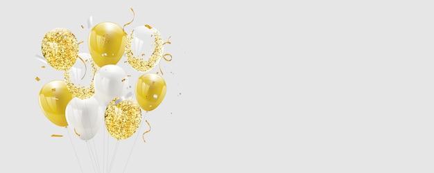 Bannière de célébration fond de ballons d'or.