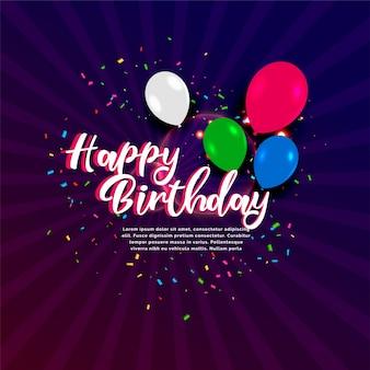 Bannière de célébration joyeux anniversaire avec des confettis et des ballons