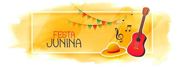 Bannière de célébration pour festa junina avec guitare et chapeau