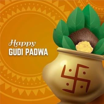 Bannière de célébration réaliste gudi padwa