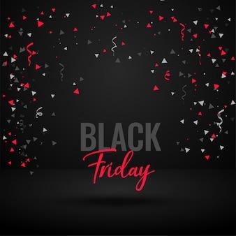 Bannière de célébration vendredi noir avec des confettis