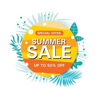 Bannière cercle abstrait vente d'été