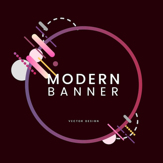 Bannière de cercle moderne en illustration de cadre coloré