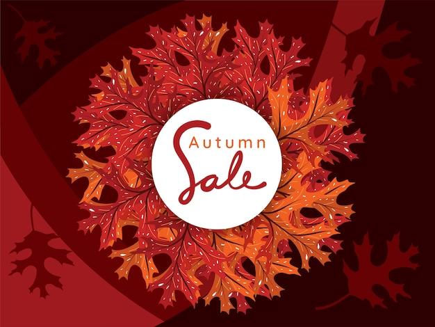 Bannière de cercle de vente sur les feuilles d'automne et fond sombre