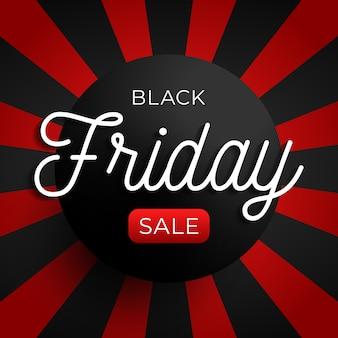Bannière de cercle de vente vendredi noir sur fond rouge et noir. illustration