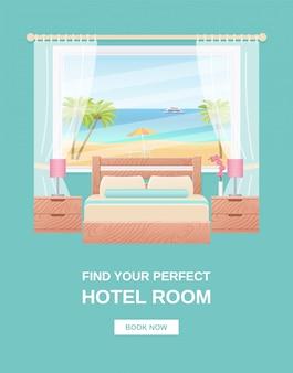 Bannière de chambre d'hôtel, dépliant de modèle, intérieur de chambre à affiche,