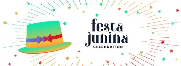 Bannière de chapeau de fête festa junina