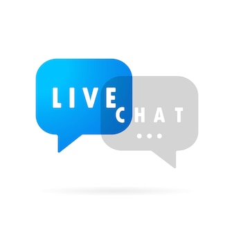 Bannière de chat en direct. icône de message au design plat. la communication. signe de conversation. vecteur sur fond blanc isolé. eps 10.