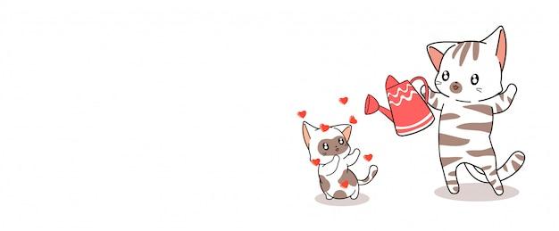 Bannière chat kawaii nourrit bébé chat avec amour