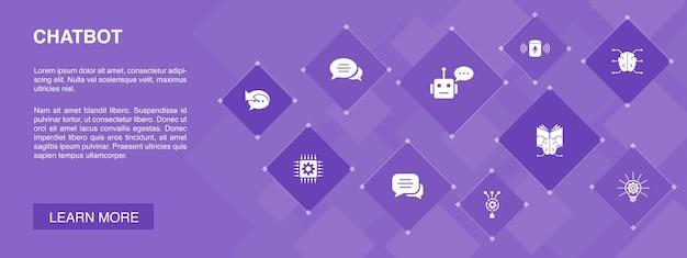 Bannière de chatbot 10 icônes concept.assistant vocal, répondeur automatique, chat, icônes simples de technologie