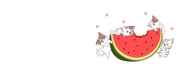 Bannière chats kawaii avec une grande bannière de pastèque