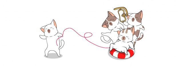 Bannière les chats kawaii voyagent vers la mer